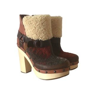 Woolrich Artist Clog Heeled Wool Leather Multicolor Platform Booties, size 7